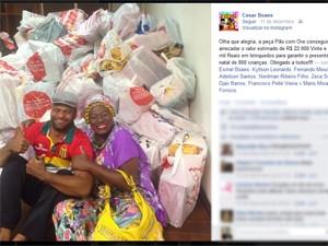 Atores comemoram arrecação da campanha Pão com Ovo Ação Social (Foto: Reprodução/Facebook)