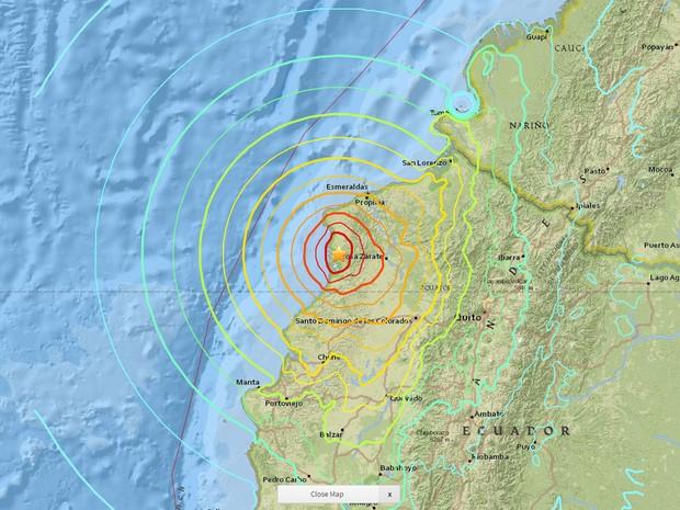 Terremoto de magnitude 7,8 atinge costa do Equador  (Foto: Serviço Geológico dos Estados Unidos)