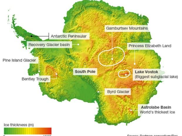 A Terra da Princesa Elizabeth (Princess Elizabeth Land, no mapa em inglês) é uma das áreas menos exploradas da Antártida, e novo foco dos times internacionais de cientistas (Foto: BBC/bedmap consortium/Bas)