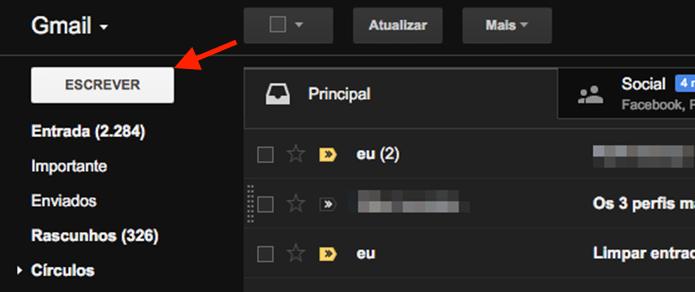 Iniciando uma nova mensagem de e-mail no Gmail (Foto: Reprodução/Marvin Costa)