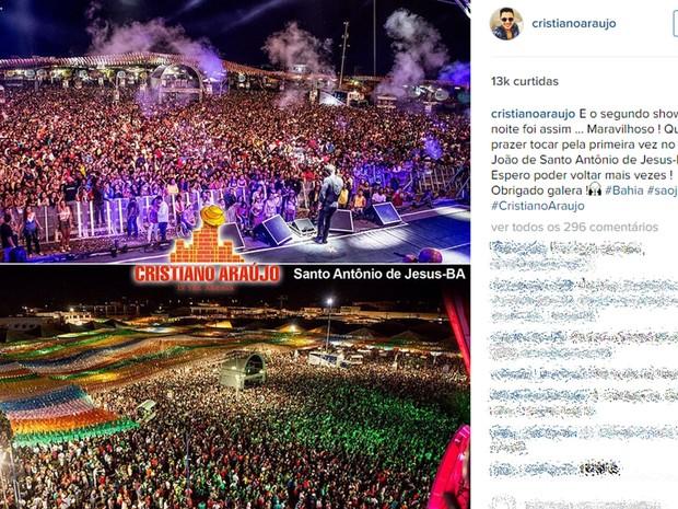 Cristiano Araújo, no Instagram, agradece fãs após show no Pelourinho (Foto: Reprodução/Instagram)