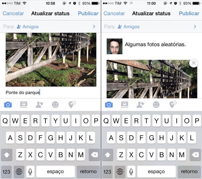 Adicionando legenda nas fotos e texto à publicação (Foto: Reprodução/Helito Bijora)