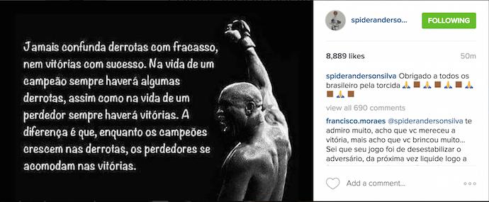 Anderson Silva, Instagram, UFC Londres