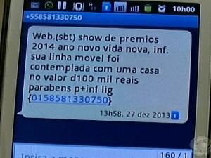 Mensagens de texto no celular anunciando premiação pode ser golpe. (Foto: Reprodução/TV Grande Rio)