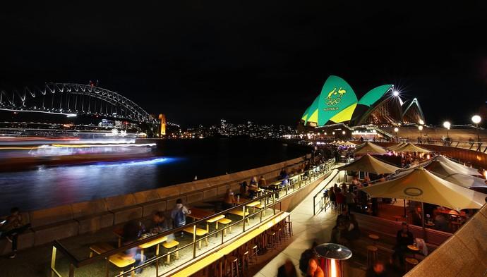 Sydney Opera House iluminado para apoiar os australianos durante as Olimpíadas (Foto: Getty Images)