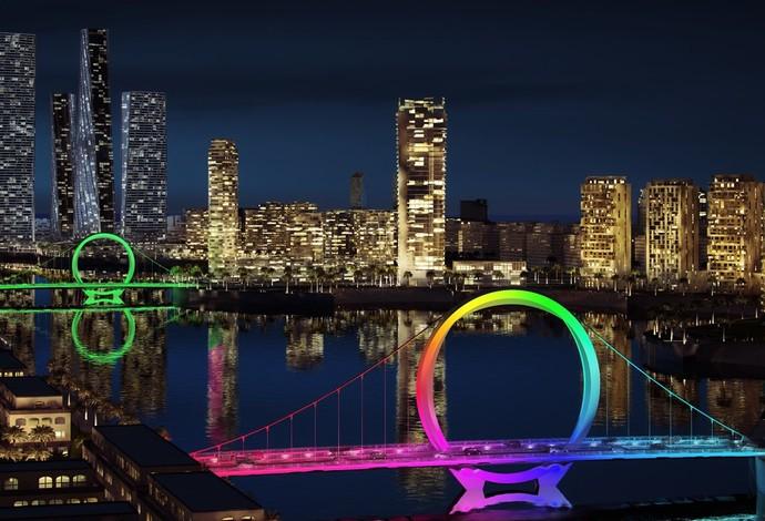 Perspectiva de como ficarão as pontes de Lusail (Foto: Lusail.com)