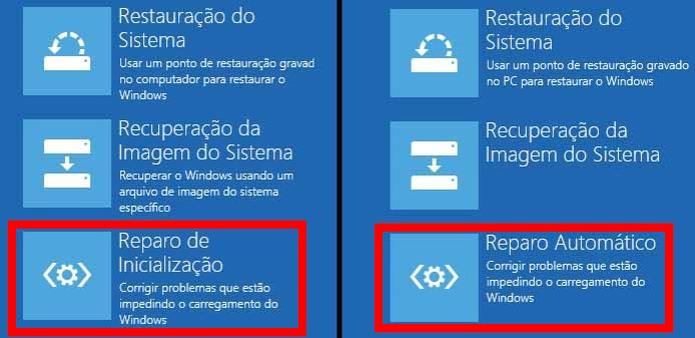Selecionando a opção que fará o reparo do Windows 8 e Windows 10 (Foto: Reprodução/Edivaldo Brito)