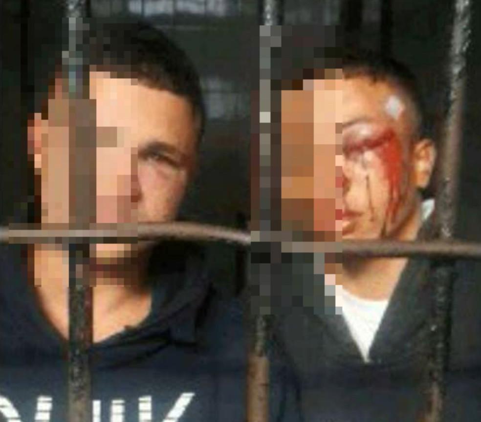 Erick Thadeu  e Gregory Perciliano foram presos ao tentarem roubar carga de caminhão (Foto: G1 Santos)