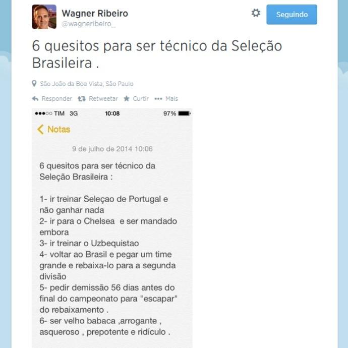 Wagner Ribeiro detonando Felipão no Twitter (Foto: re)