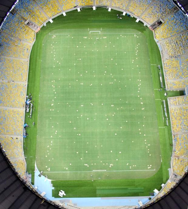 gramado Maracanã marcação obras estádio (Foto: Carlos Eduardo / Agência O Dia / Agência Estado)