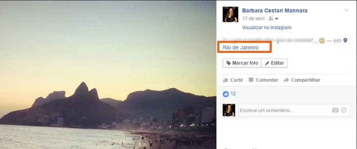 Localização aparece na foto em compartilhamento de redes sociais (Foto: Reprodução/Barbara Mannara)