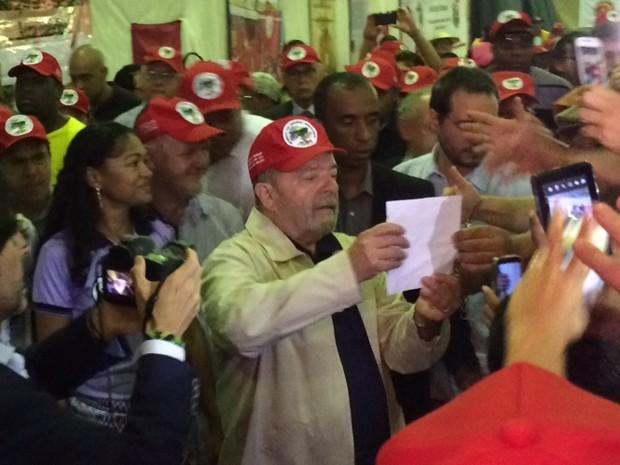 O ex-presidente Lula durante o I Congresso Nacional do Movimento dos Pequenos Agricultores, em São Bernardo do Campo (SP) (Foto: Glauco Araújo/G1)