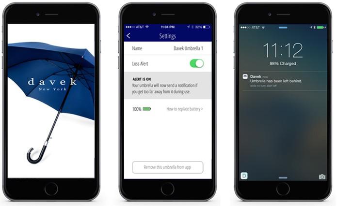 Aplicativo cria ponte entre telefone e guarda-chuva (Foto: Reprodução/Kickstarter)