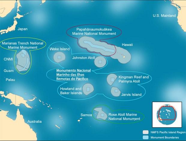 Imagem divulgada pela Administração Nacional Oceânica e Atmosférica (NOAA, na sigla em inglês), mostra a área atual do Monumento Nacional Marinho das Ilhas Remotas do Pacífico (Foto: Divulgação/NOAA)