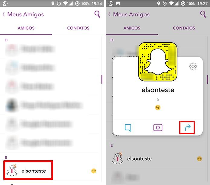 Usuário deve exibir perfil do amigo que deseja compartilhar no Snapchat (Foto: Reprodução/Elson de Souza)