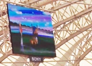 Mascote Fuleco imita Kidiaba, goleiro do Mazembe, no telão do Beira-Rio (Foto: Reprodução)