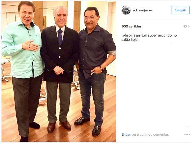 Silvio Santos e Michel Temer se encontram no cabeleireiro