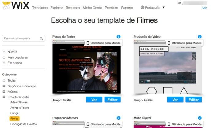 Escolha template para a sua página no Wix (Foto: Reprodução/Carolina Ribeiro)  (Foto: Escolha template para a sua página no Wix (Foto: Reprodução/Carolina Ribeiro) )