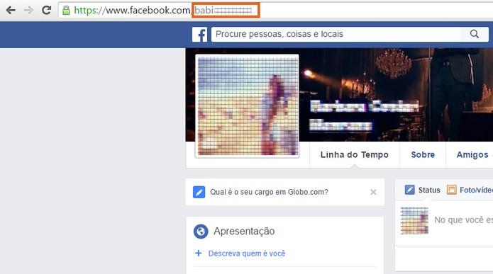 Copie o seu nome de usuário no link do perfil do Facebook (Foto: Reprodução/Barbara Mannara)