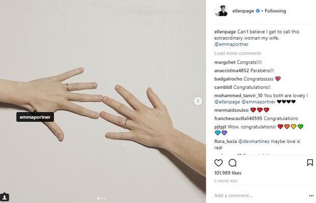 Ellen Page anuncia casamento com Emma Portner (Foto: Reprodução/Instagram)