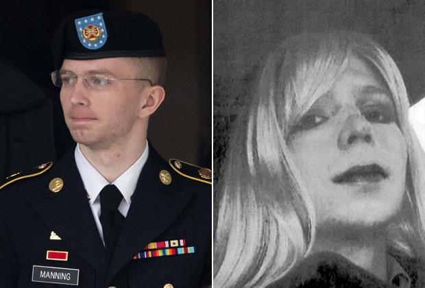Bradley Manning (à esq), em imagem de 2013, e já como Chelsea, após ser preso por vazar documentos secretos (Foto: Getty Images)