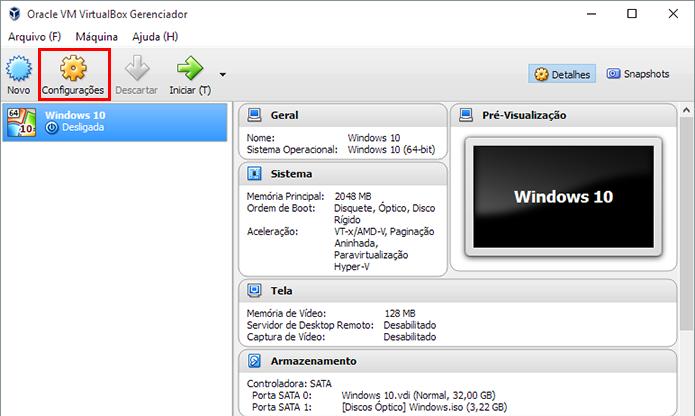 Abra as configurações de uma máquina virtual (Foto: Reprodução/Paulo Alves)