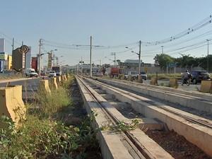 Com obras paradas, canteiro do VLT em Mato Grosso tem pés de quiabo e feijão. [7] (Foto: Reprodução/TVCA)
