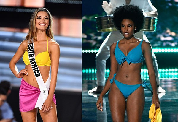 Miss África do Sul, Demi-Leigh Nel-Peters, e a Miss Jamaica, Davina Bennett (Foto: Getty Images)