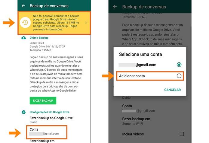 Selecione a opção para adicionar outra conta do Google Drive no WhatsApp (Foto: Reprodução/Barbara Mannara)