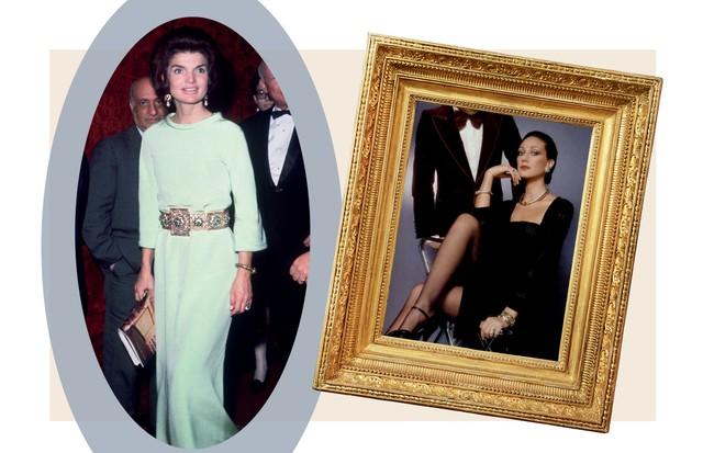 Jackie O. com cinto feito de ouro e pedras preciosas, no Metropolitan Opera, em Nova York, em1967, e Marisa Berenson comjoias da Zolotas, em 1975. (Foto: Getty Images e Divulgação)