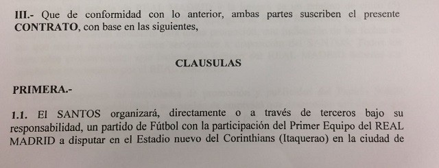 Contrato amistoso Santos Real Madrid Corinthians Neymar