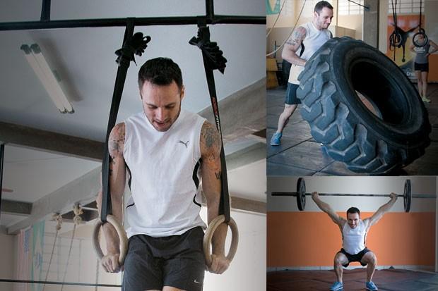Fortificação de exercícios de uma potência masculina