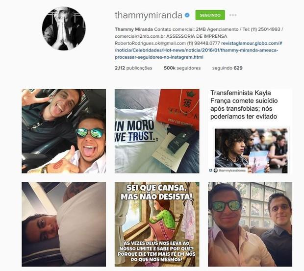Thammy Miranda apaga post após polêmica de namoro (Foto: Reprodução do Instagram)