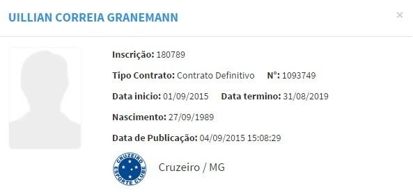 Nome de Uillian Corrêa é publicado no BID e jogador tem condições de jogo (Foto: Repdrodução/Site da CBF)