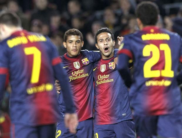 Villa comemora gol do Barcelona contra o Deportivo Alaves (Foto: Agência Reuters)