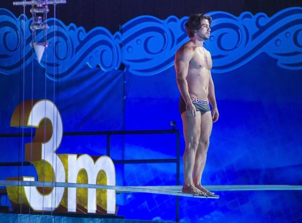 Mariano se preparando para saltar no quadro Saltimbum (Foto: Globo/Mauricio Fidalgo)