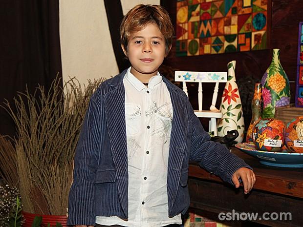 O pequeno Tomás Sampaio emocionou o público com o doce Serelepe (Foto: Camila Camacho / TV Globo)