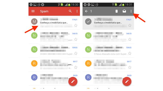 Selecionando uma mensagem marcada como spam que será movida para a caixa de entrada do Gmail pelo Android (Foto: Reprodução/Marvin Costa)