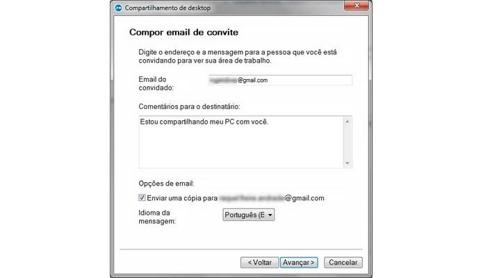Finalização do convite para compartilhar desktop no LogMeIn (Foto: Reprodução/ Raquel Freire)