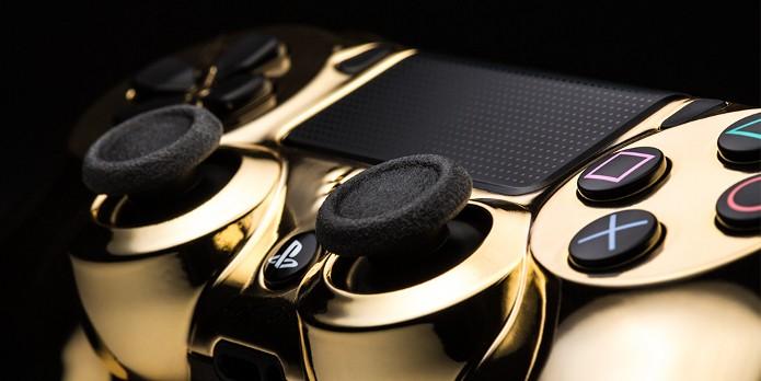 Detalhe do DualShock 4 banhado a ouro (Foto: Divulgação)