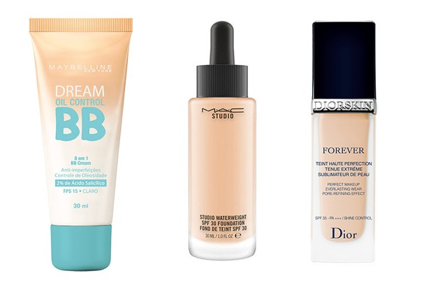 BB Cream Fresh Medium, Maybelline (R$ 29), Water Weight Foundation, M.A.C (R$ 149), Diorskin sculpt, Dior (R$ 269) (Foto: Divulgação)