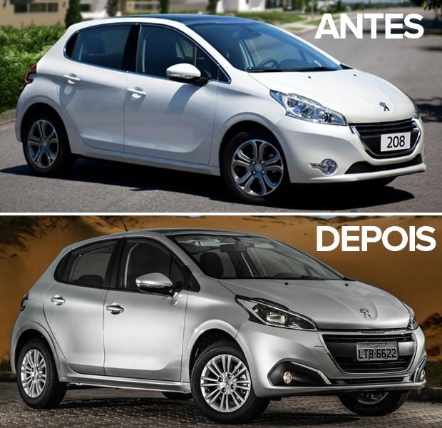 Antes e depois do Peugeot 208 (Foto: Divulgação)