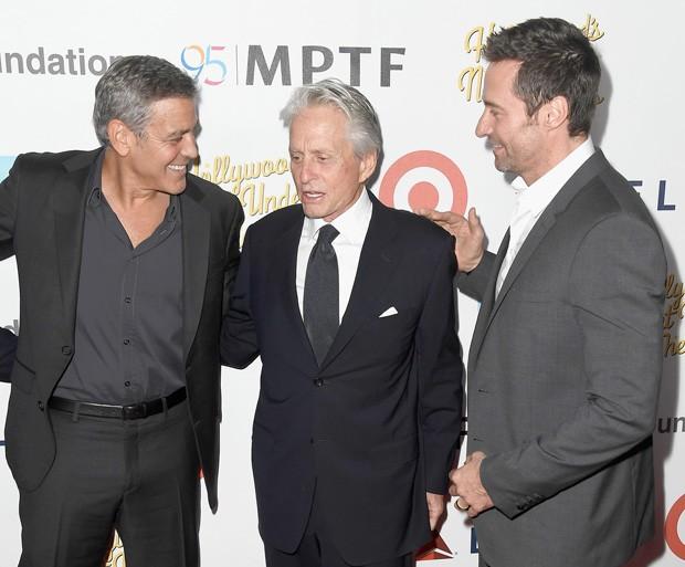 George Clooney, Michael Douglas e Hugh Jackman (Foto: Getty Images)