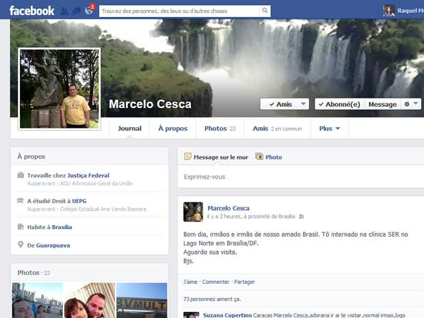 Postagem feita pelo juiz federal Marcelo Cesca, em que ele diz ter se internado em clínica psiquiátrica (Foto: Facebook/Reprodução)