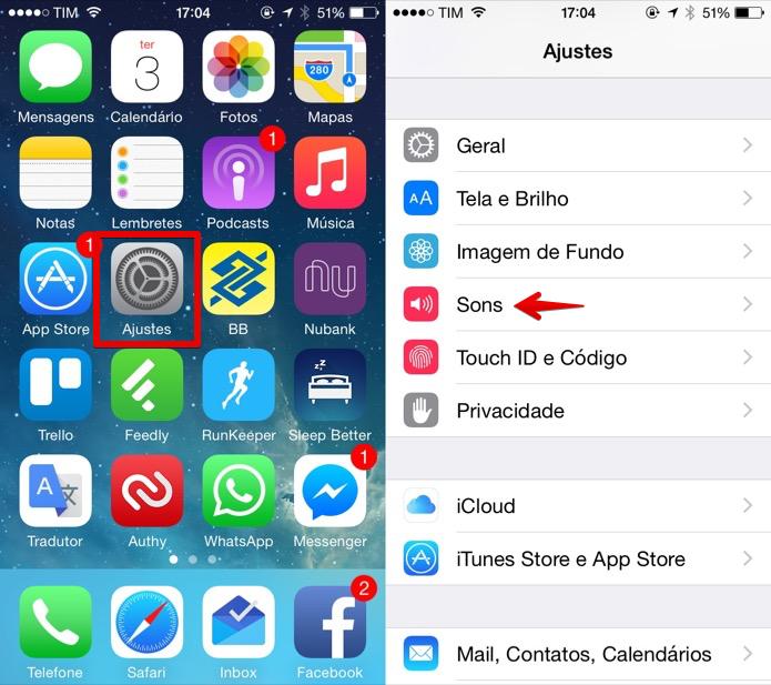 Acesse as configurações de som do iOS (Foto: Reprodução/Helito Bijora)