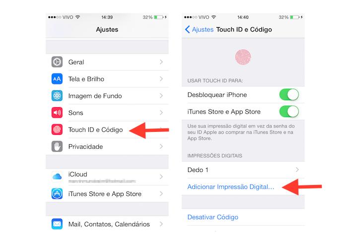 Acessando as configurações da Touch ID do iPhone para inserir uma nova impressão digital ao sistema (Foto: Reprodução/Marvin Costa)