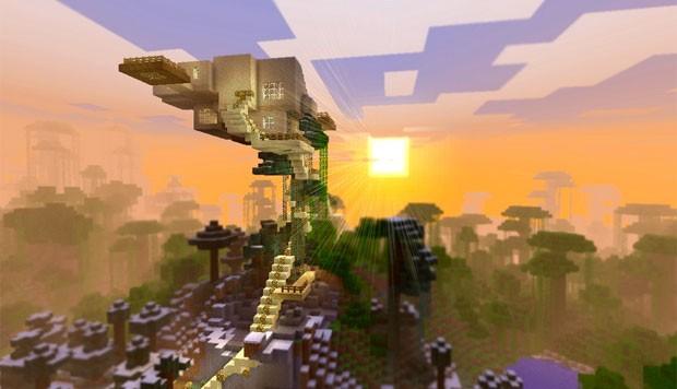 Esta casa na árvore de 'Minecraft' é alta, mas teve que respeitar os limites de altura e de profundidade do game, que é de 148 blocos (Foto: Divulgação/Minecraft Museum)