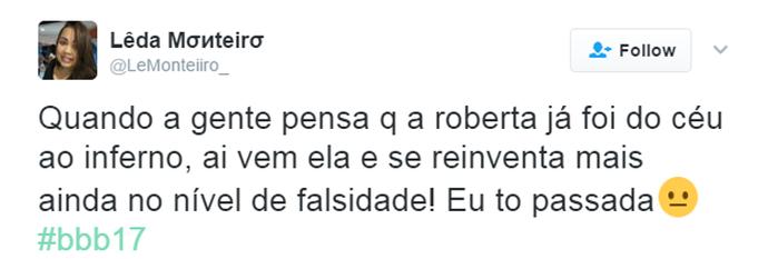 Tuíte Roberta (Foto: Reprodução Twitter/@LeMonteiiiro_)
