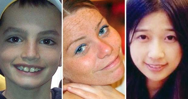Fotos mostram os três mortos no ataque à maratona de Boston: Martin Richard, de 8 anos, Krystle Campbell, de 29, e a chinesa Lingzi Lu (Foto: AP)