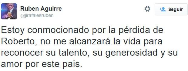 Mensagem do intérprete do Professor Girafales no Twitter (Foto: Reprodução/ Twitter)